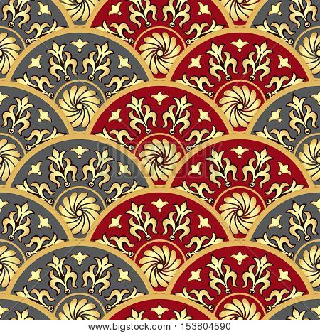 Vintage seamless pattern with gold and gray and red gradient circles vector