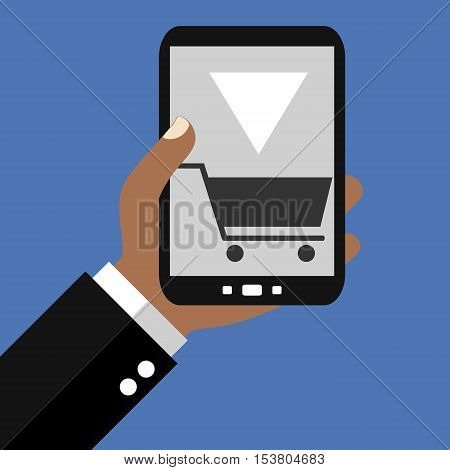 Hand holding Smartphone: Order - Flat Design
