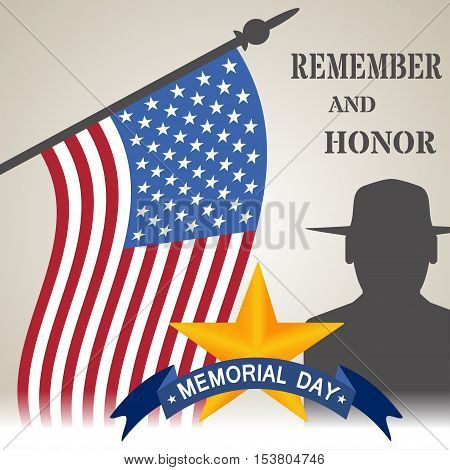 Vector illustration of Memorial Day. Day of Remembrance. We remember and honor vector illustration