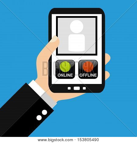 Hand holding Smartphone: Online Offline - Flat Design