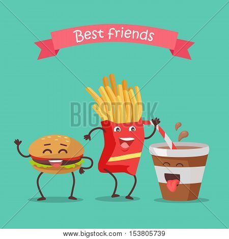 Best friends hamburger, fries and soda dancing. Funny food story conceptual banner. Fresh cooked food characters in cartoon style on disco. Happy meal for children. Childish menu poster. Vector