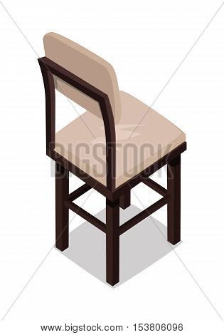 Isometric wooden kitchen chair. Chair icon. Kitchen chair in colorful flat design. Chair with shadow. Furniture element for home interior. Isolated object on white background. Vector illustration.