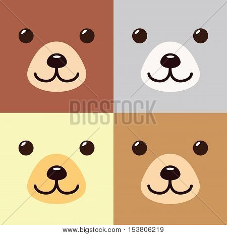 Bear Kawaii Cartoon In Different Colors Set Cute Icon - Bear Animal Flat Isolated Design Vector Illustration Stock