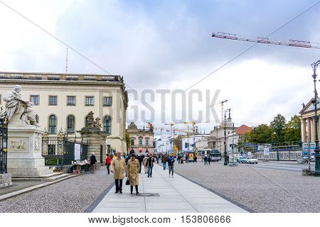 BERLIN, GERMANY- October 8: Typical Street view October 8, 2016 in Berlin, Germany. Berlin is the capital of Germany. With a population of approximately 3.5 million people.BERLIN, GERMANY