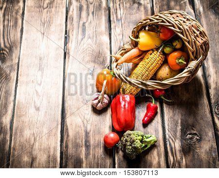 Organic Food . Fresh Vegetables In The Old Basket.