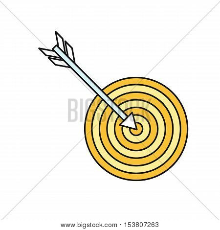 Arrow with target icon. Target icon. Arrow hit goal ring in archery target. Business design element. Design element, sign, symbol, icon in flat. Vector illustration.