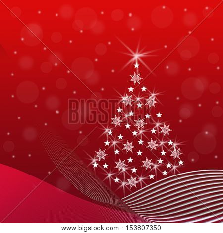 Abstract Christmas tree with sparkling snowflakes stars snow drifts a snowfall on a red background - festive illustration