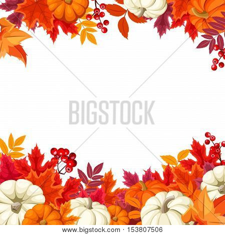 Vector background frame with orange and white pumpkins and colorful autumn leaves.