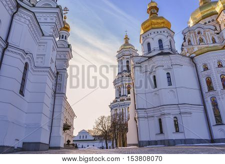 Dormition Cathedral of Kiev Pechersk Lavra Christian Monastery, Refectory Church and Great Lavra Bell Tower. Between Cathedrals