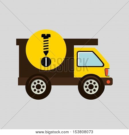 construction gear icon screw bolt vector illustration eps10