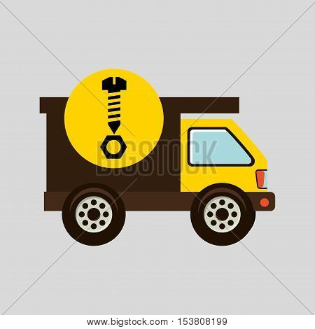 construction gear icon screw nut vector illustration eps10