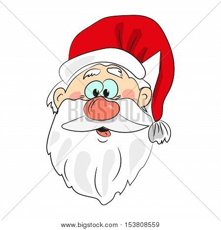 Vector illustration of cheerful Santa Claus isolated face. Xmas season red hat celebration santa claus head character. Merry christmas holiday santa claus head. Happy santa head cartoon face.