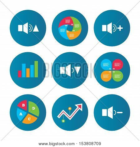 Business pie chart. Growth curve. Presentation buttons. Player control icons. Sound louder and quieter signs. Dynamic symbol. Data analysis. Vector