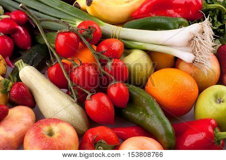 Colorful collection of fresh vegetables and fruits.