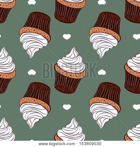 Seamless pattern made from hand drawn creamy cupcakes and white hearts on blue background. Vector illustration