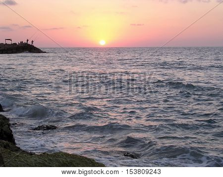 Sunset over the sea in Haifa Israel August 23 2003