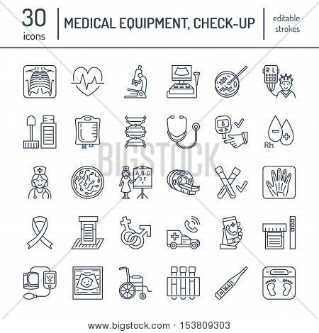 Vector thin line icon of medical equipment research. Medical check-up test elements - MRI xray glucometer blood pressure laboratory. Linear pictogram with editable stroke for clinic hospital.