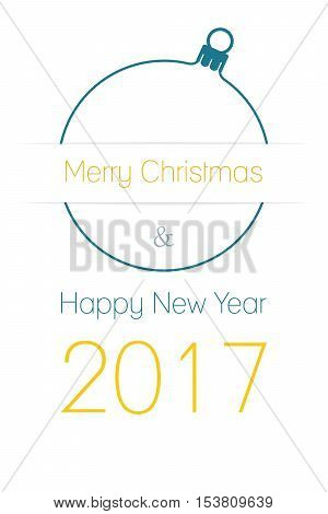 Merry Christmas and Happy New Year 2017 greeting card silhouette of christmas ball with text on white background isolated vector illustration