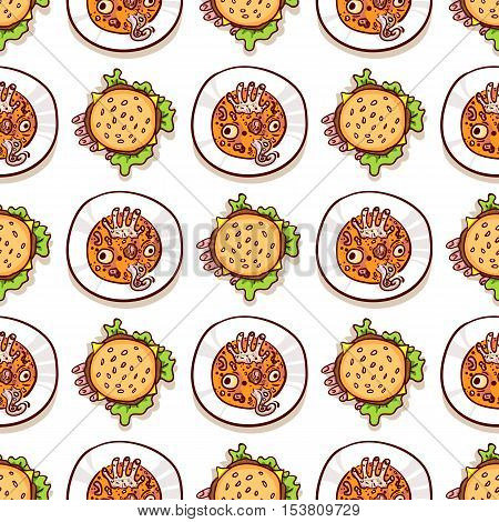 Cheeseburger, Soup with eyeballs, dead man hand and tentacle. Halloween meal seamless pattern on white. Dips with scary food, top view. Hand drawn sketchy background, design element