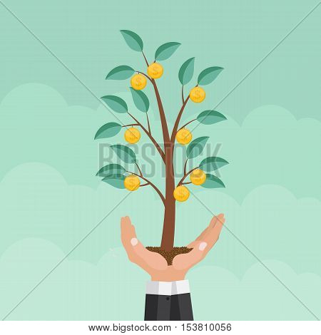 Helping Hand. Money Tree, Financial Growth Flat Concept Vector Illustration EPS10