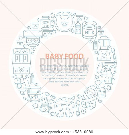 Breastfeeding poster template. Vector line illustration of breast feeding infant food. Nursery element: breast pump woman child powdered milk bottle sterilizer baby. Maternity banner design