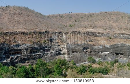 Ajanta Caves Near Aurangabad, Maharashtra State In India. Amazing Site Of Ancient Buddhist Temples,
