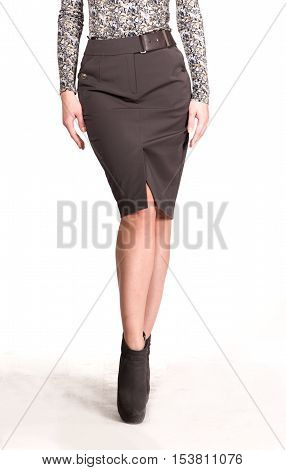 knee length with slit on mode close up photo isolated on white
