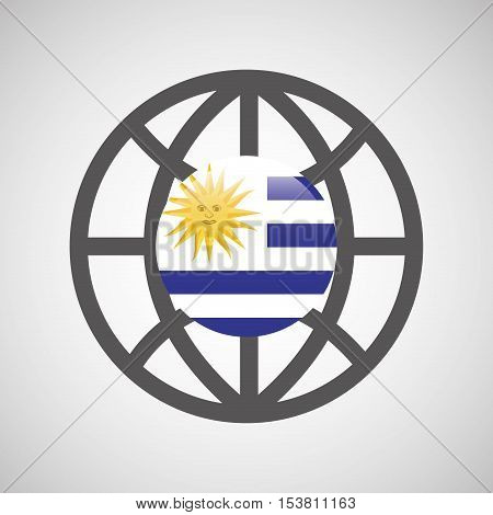 globe sphere flag uruguay country button graphic vector illustration eps 10