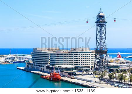 Barcelona, Spain - May 27, 2016: station Torre de Jaume 1 on the funicular road Barceloneta - Montjuic, Transbordador Aeri del Port, cruise port, World Trade Center Barcelona
