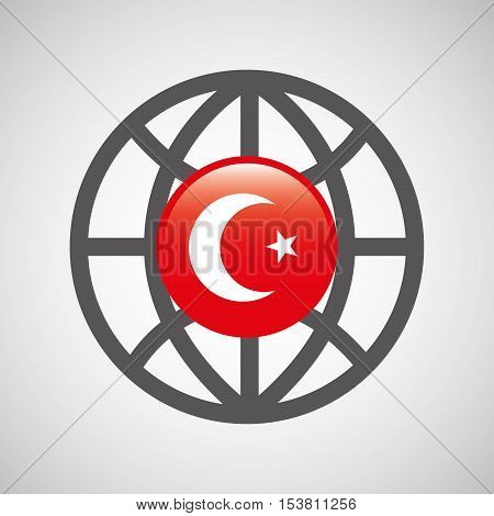globe sphere flag turkey country button graphic vector illustration eps 10