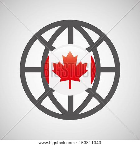 globe sphere flag canada country button graphic vector illustration eps 10