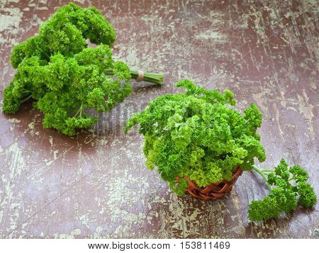 Fresh green curly parsley on wooden background