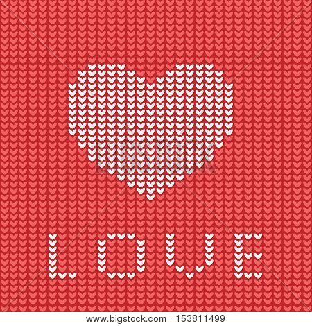 Knitting is love. Knitted heart symbol. Modern vector knitting pattern. Flat knitted heart for invitations notes messages banners. Knitting design element for sites. Red knitted heart isolated.