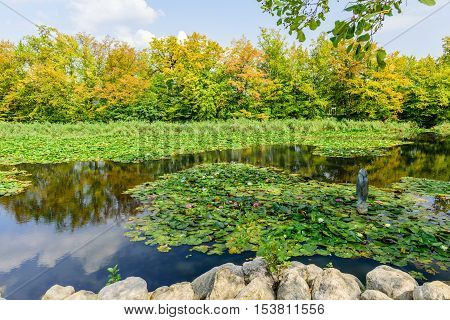 Picturesque pond in the city Park Tivoli, Ljubljana, Slovenia.