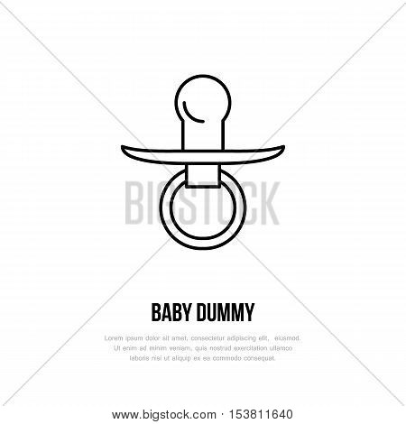 Simple logo of baby's dummy. Modern vector line icon of dummy. Pacifier pictogram. Linear symbol for nursery baby shower. Illustration of dummy design element for sites.