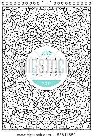 wall calendar 2017 with ornament for coloring, anti stress coloring book, july