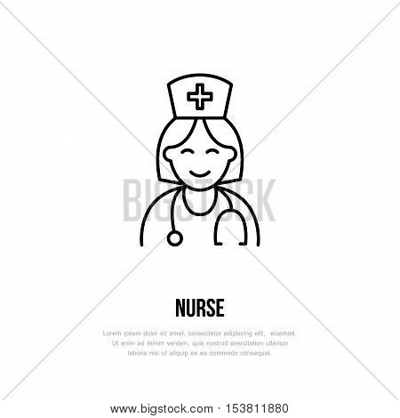 Modern vector line icon of nurse. Gynecology clinic linear logo. Outline symbol for polyclinics. Obstetrics design element for sites hospitals. Medical business logotype maternity sign.