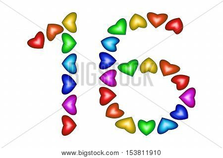 Number 16 made of colorful hearts on white. Love figures. Multicolored icon. Greeting card. Happy birthday invitation. Holiday anniversary sign. Number sixteen from rainbow hearts. Vector illustration