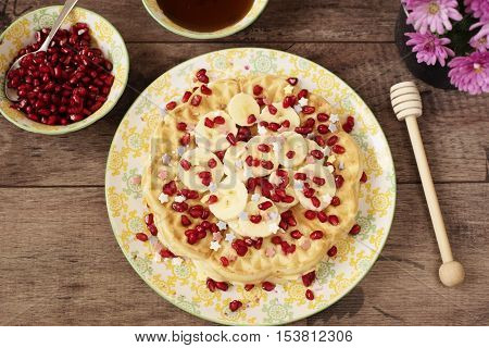 Soft Belgian Heart Shaped Waffles With Banana And Pomegranate, Sugar Decoration Stars, Covered With