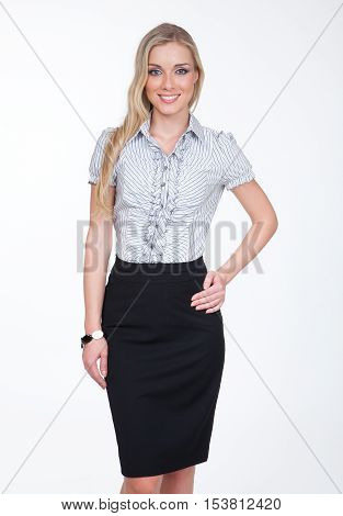 woman with straight hair style in summer white short sleeve shirt and pencil black official skirt close up photo on white
