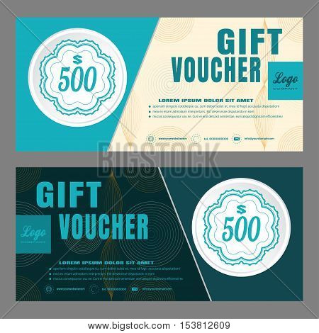 Blank of gift voucher vector illustration to increase sales with light turquoise and dark turquoise background.
