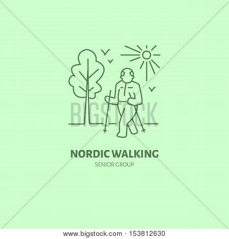 Modern vector line icon of nordic walking. Senior sport group linear logo. Outline symbol for elderly leisure. Old men fitness design element for sites clubs. Nordic walking logotype sport sign.