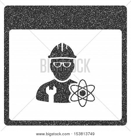 Atomic Engineer Calendar Page grainy textured icon for overlay watermark stamps. Flat symbol with dust texture. Dotted vector gray ink rubber seal stamp with grunge design on a white background.