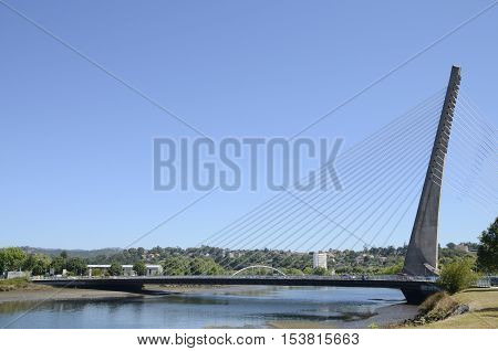 PONTEVEDRA, SPAIN - AUGUST 6, 2016: Cable stayed bridge over the river Lerez in Pontevedra Spain.
