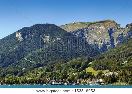 view of Schafberg mountain from Wolfgagsee lake Austria