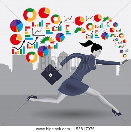 Analyzing trends business concept. Confident business woman in business suit runs with smart phone in one hand and case in other hand. Different kinds of business charts form a cloud around her.