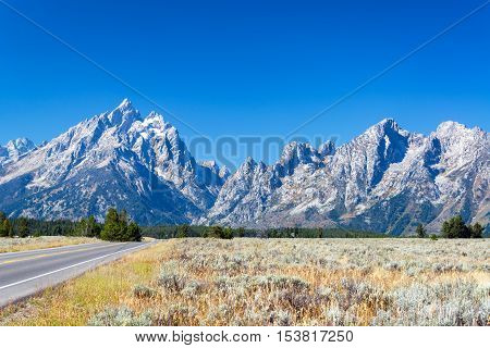 Teton Range And Highway