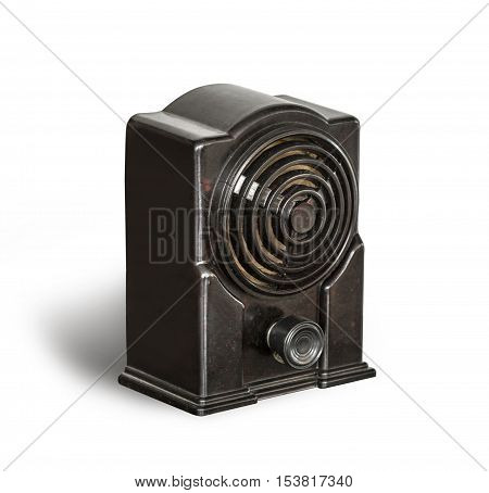 Antique black radio on a white background with clipping path