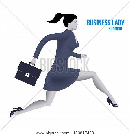 Business lady running template. Running business lady in business suit with case isolated on white background. Vector illustration. Use as template background or part of any design.