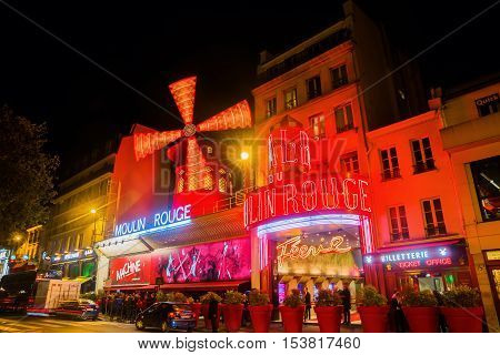 Moulin Rouge In Paris, France, At Night